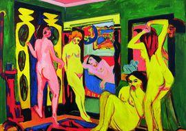 Ernst Ludwig Kirchner, Badende im Raum, 1909/1910 - nach 1925